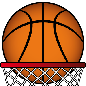 Clip art of basketball going in to hoop.
